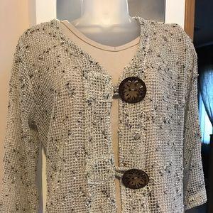 Brown/tan crocheted type sweater